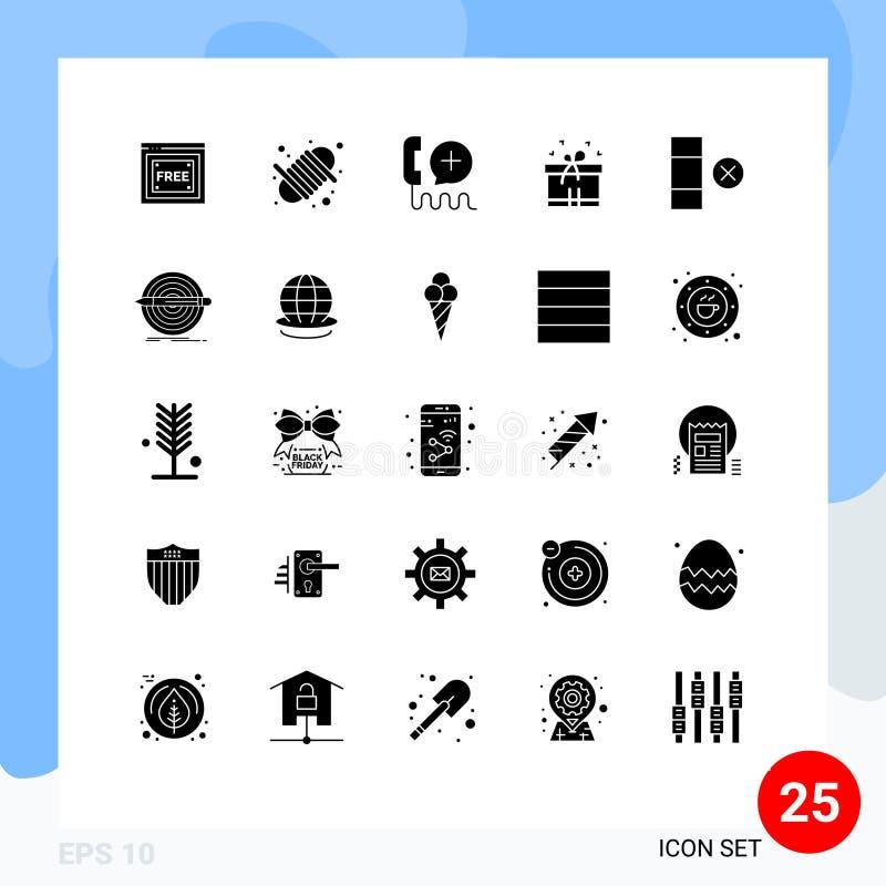 Web打印媒体的25个现代实体字形符号和符号的包,如delete、mom、add、box ribbon、service 库存例证