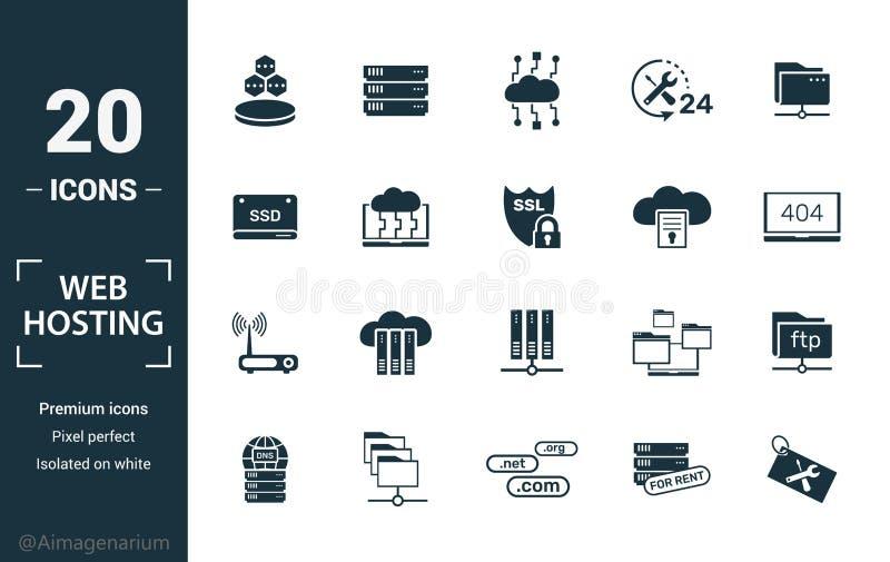 Web托管图标集 包括创意元素数据结构、云技术、ssd、文件访问、调制解调器图标 可用于 向量例证