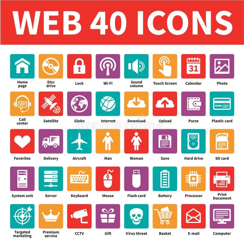 Web 40 ícones do vetor ilustração royalty free