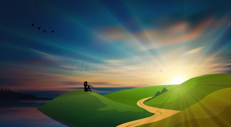 Girl silhouette on a green field at sunset, beautiful nature landscape, country road vector illustration
