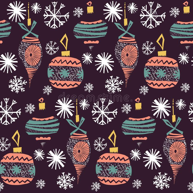 Retro vintage art beautiful artistic Scandinavian graphic lovely winter holiday new year collage pattern Christmas tree toys. Vector hand illustration. Perfect stock illustration