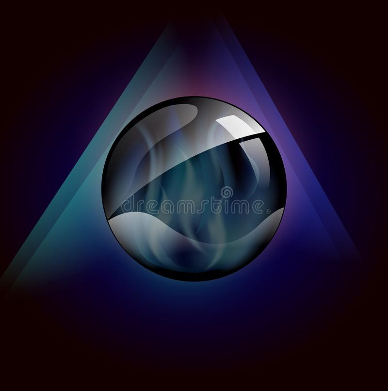 Magical crystal ball with blue flames inside template. Magical crystal sphere template, 3D crystal ball with blue flames inside in a 3d environment , abstract vector illustration