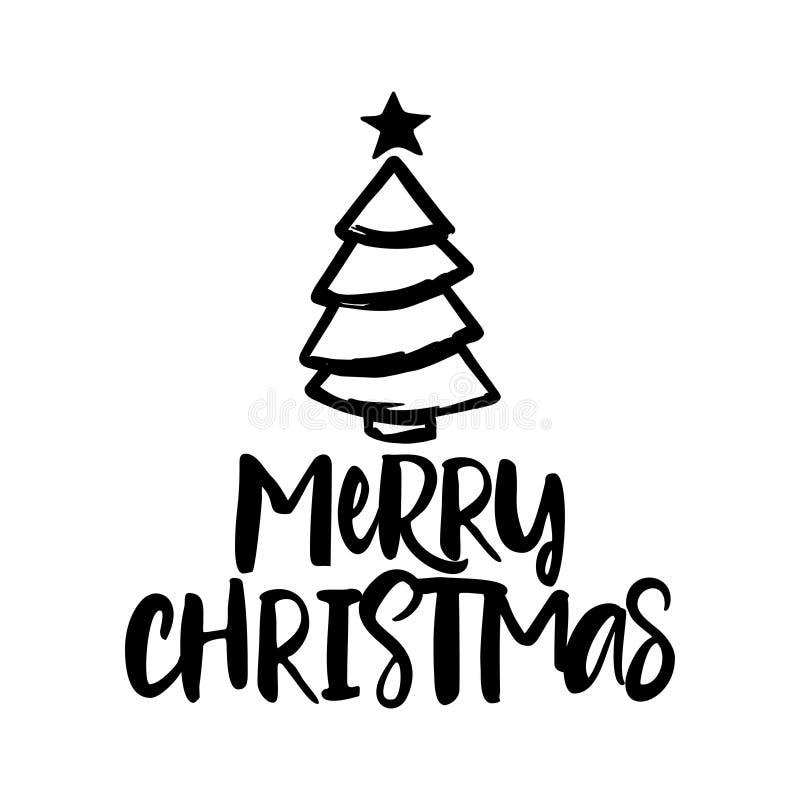 Merry Christmas - Calligraphy phrase for Christmas. vector illustration