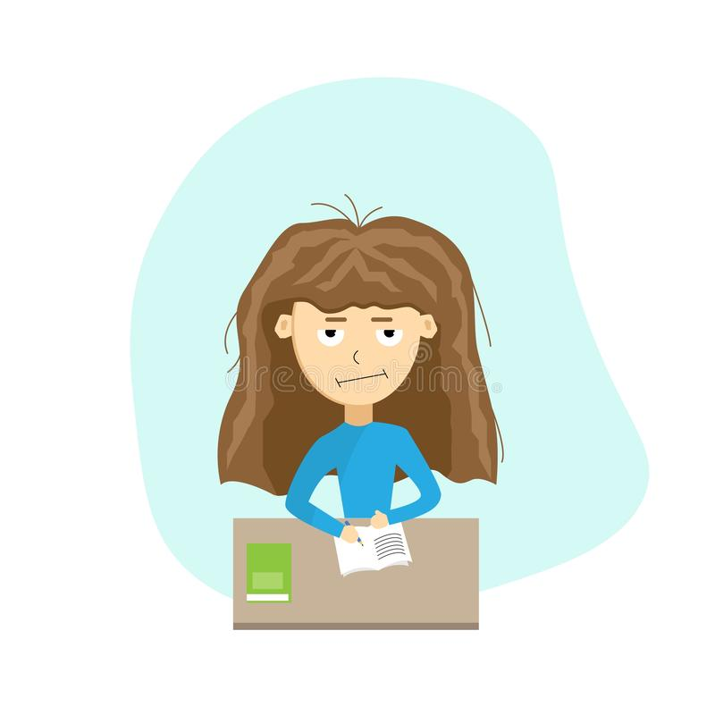 Sad and Tired Schoolgirl Doing Homework. The concept of difficulty in learning and education vector illustration