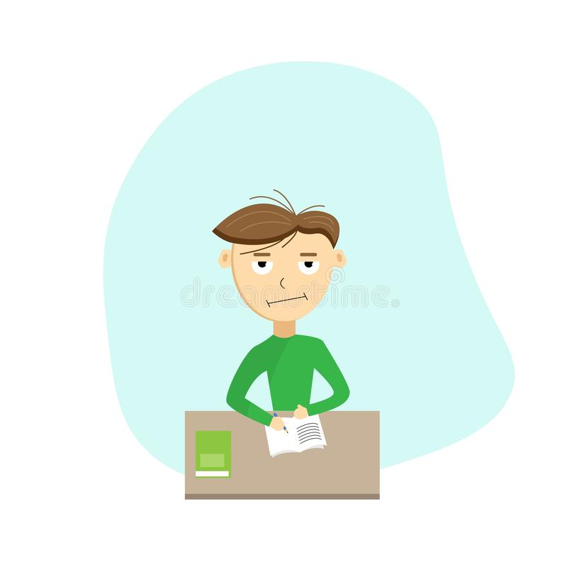 Sad and Tired Schoolboy Doing Homework. The concept of difficulty in learning and education stock illustration