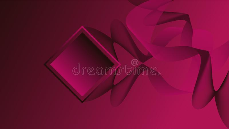 Abstract black and pink lines over a dark pink color stock illustration