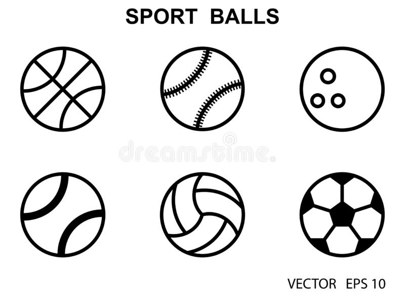 Set Of Black And White Sports Balls Vector Illustration Flat Style Stock Illustration Illustration Of Labels Football 134672997