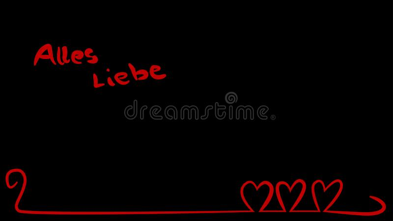 Red hearts on curved line with german text. Three red hearts together on a curved line to be used for mothers day, valentines day, engagements or a wedding royalty free illustration