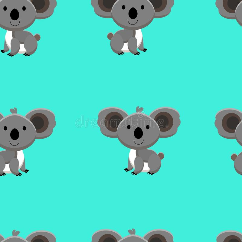 Seamless pattern with cute koala and funny cartoon zoo animals on blue background vector illustration