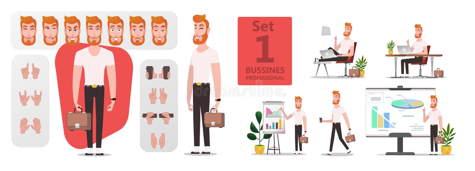 Business Man creation stylized character set. Or DIY kit for animation. Collection of flat cartoon character body parts, face expressions, trendy hipster vector illustration
