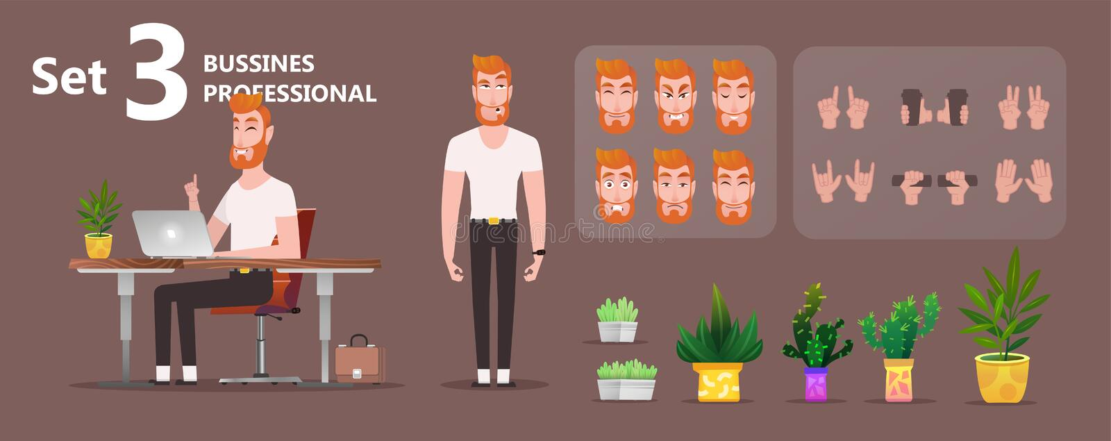 Young businessman working on laptop stock illustration