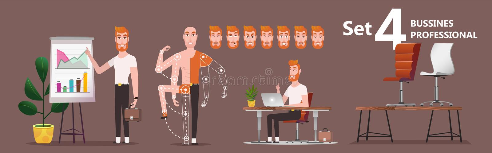 Young man employee of the company presents the results of work. Young Cartoon businessman making presentation explaining charts. A young man employee of the vector illustration