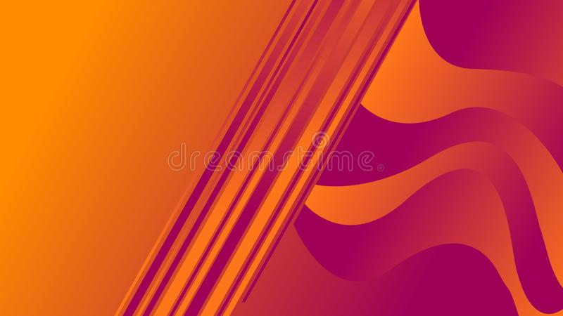 Linear figures with waves of colors orange and violet. Illustrations royalty free illustration