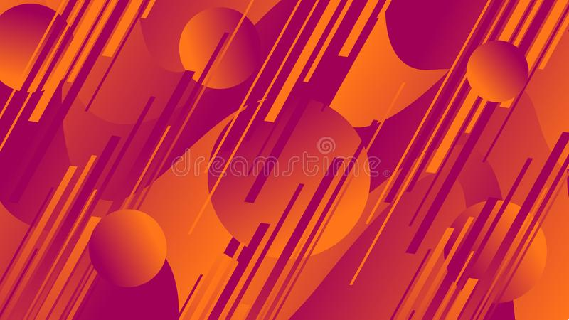 Circles and linear figures of orange and blue colors and waves. Illustration royalty free illustration