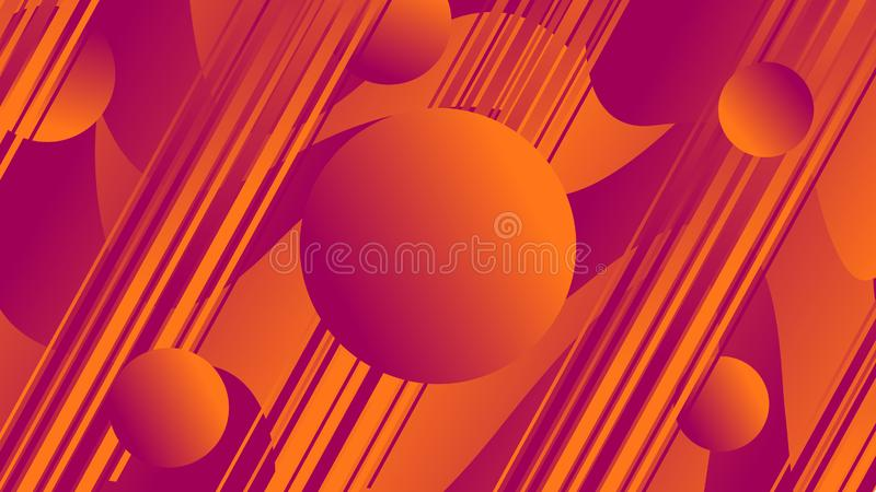Abstract waves with circles and linear figures of orange and blue colors. Illustrations vector illustration