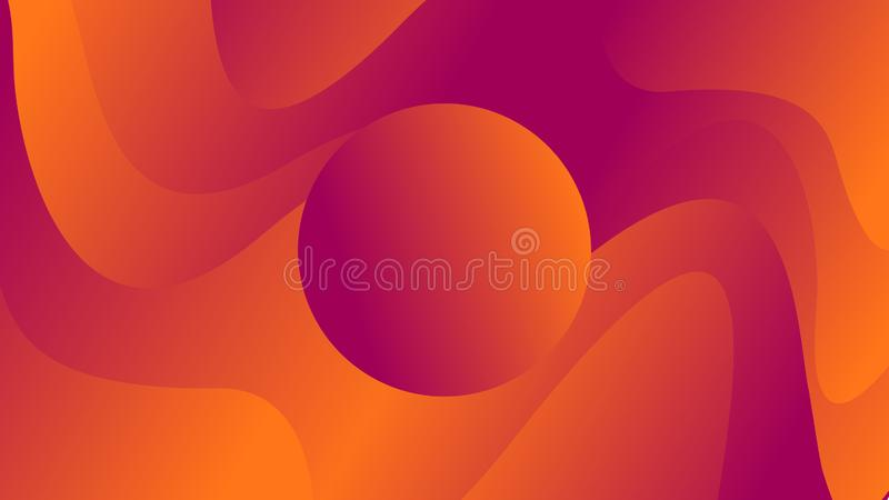 Circle on a background with waves of orange and blue colors. Illutrations stock illustration