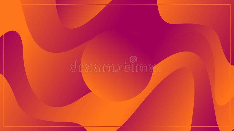 Circle on a background with waves of colors orange and violet. Illustrations stock illustration