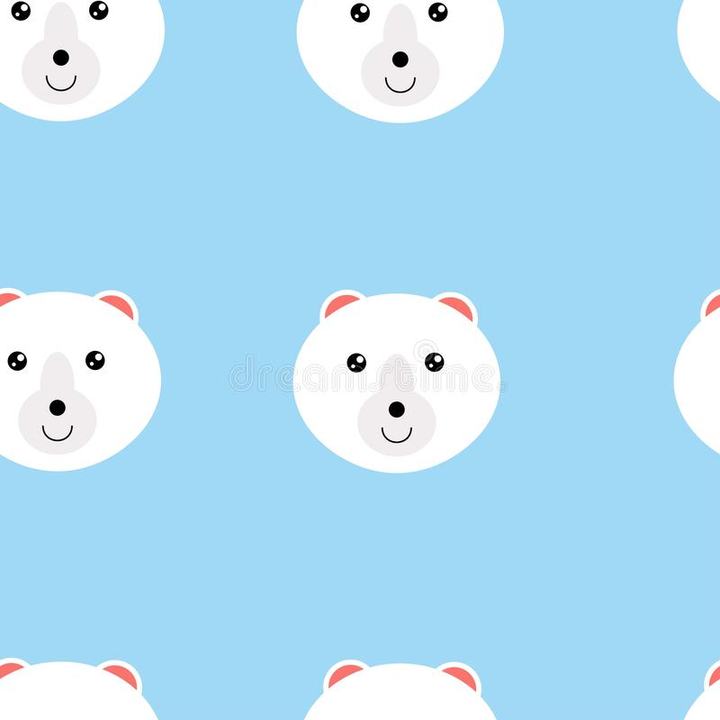 Seamless pattern heads of polar bear. Illustration of seamless pattern with animal. Colorful vector illustration for fabric print, royalty free illustration