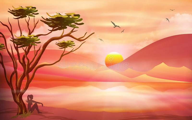 Orange pink sunset, relax in nature, landscape. Nature landscape with hills and lake, sun and sky reflection in water. Sunset surreal scene, sky with soft clouds royalty free illustration
