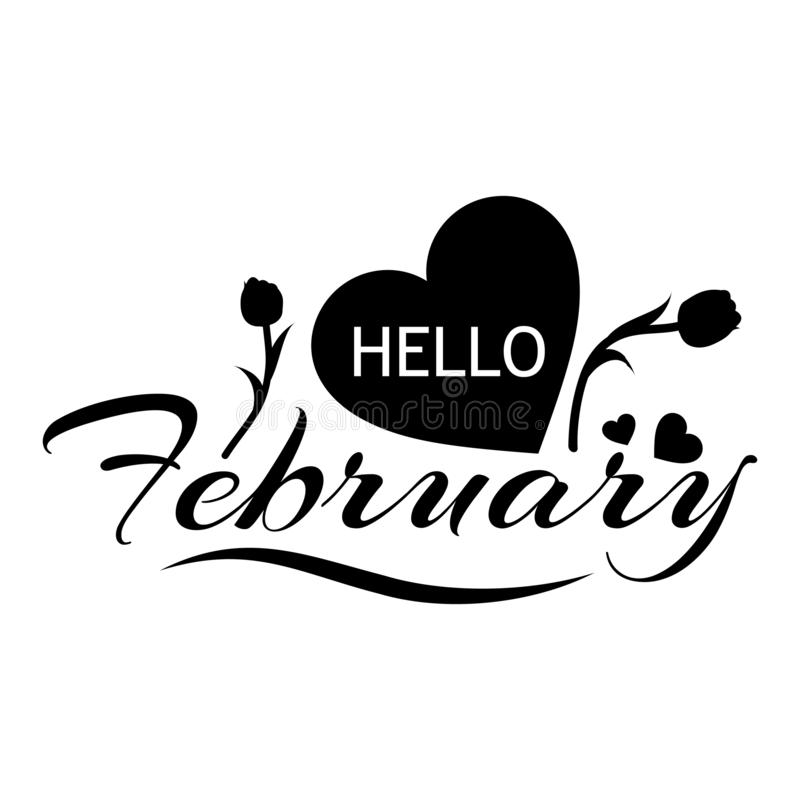 Calligraphy and text Hello february, flat design. Vector illustration concept for Hello february. vector illustration