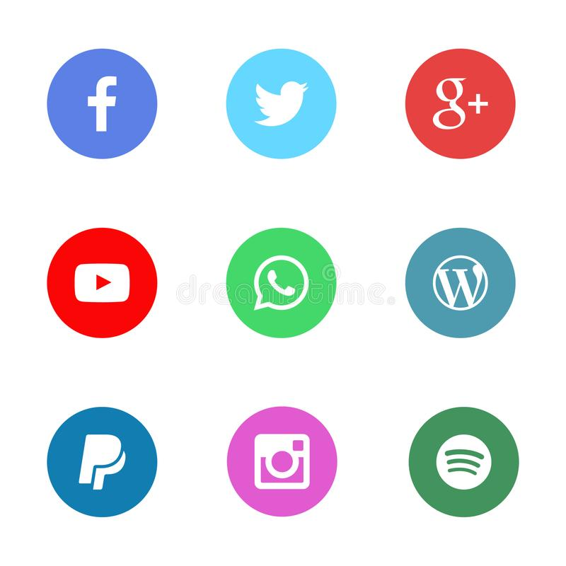 Collection of social media icons printed on white paper. Web icons royalty free illustration