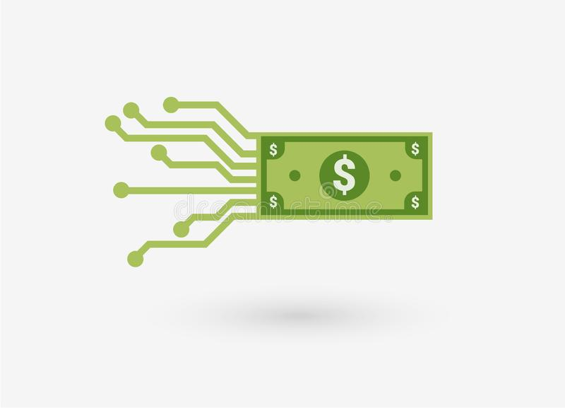 Digital currency money dollar. Design concept of mobile payment. - Illustration vector illustration