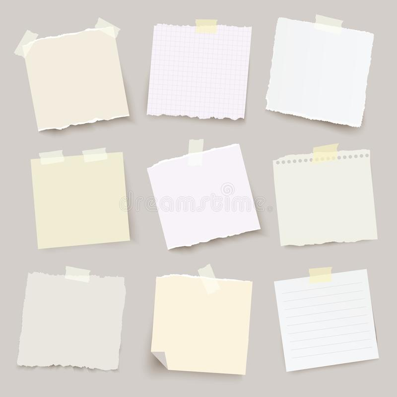 Set of vector torn note papers with adhesive tape. - Illustration stock illustration
