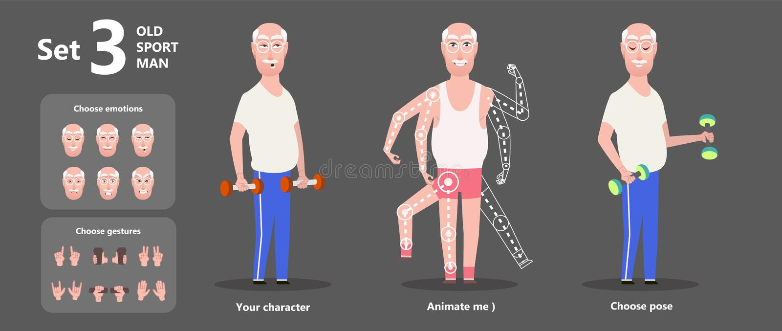 Gymnastics grandpa dumbbells exercises. A set of emotions. Gymnastics old man grandpa dumbbells exercises. Happy senior character cartoon design. A set of parts stock illustration