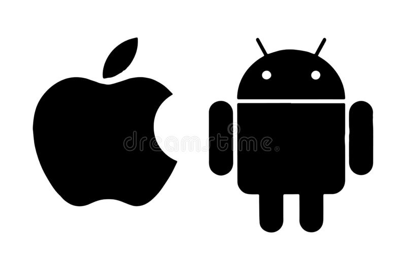 Apple Android Logo Editorial Vector royalty free illustration