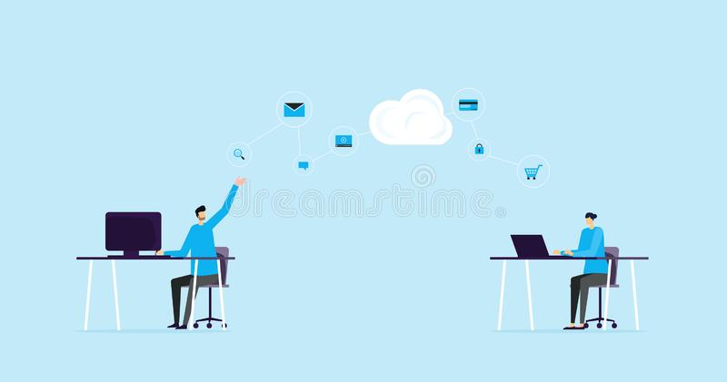 Flat illustration banner design concept and business team working with cloud storage connection network. Concept stock illustration