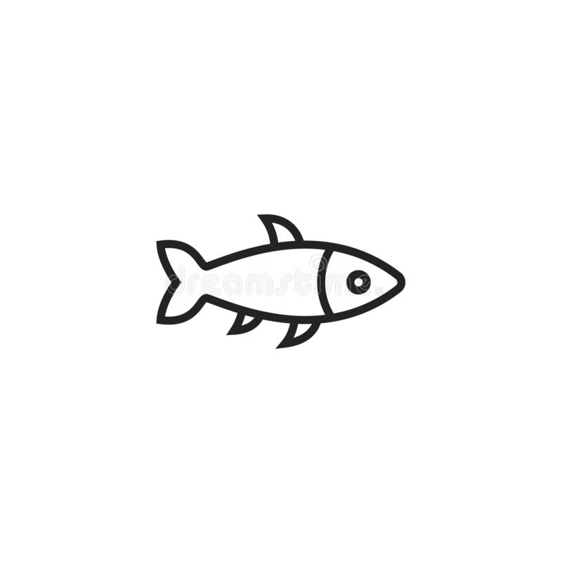 Fish Oultine Vector Icon, Symbol or Logo. Simple Fish Vector Illustration vector illustration