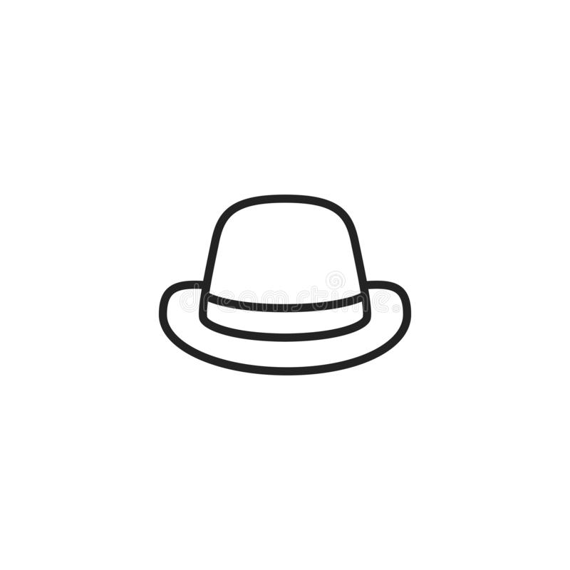 Retro Hat Oultine Vector Icon, Symbol or Logo. Simple Retro Hat Vector Illustration vector illustration