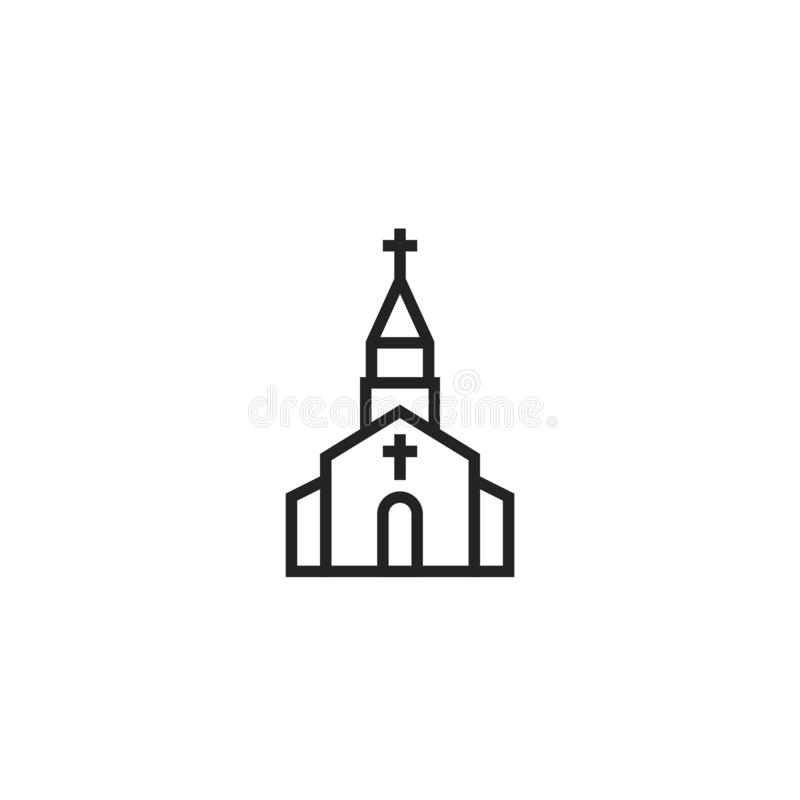 Church Oultine Vector Icon, Symbol or Logo. stock illustration