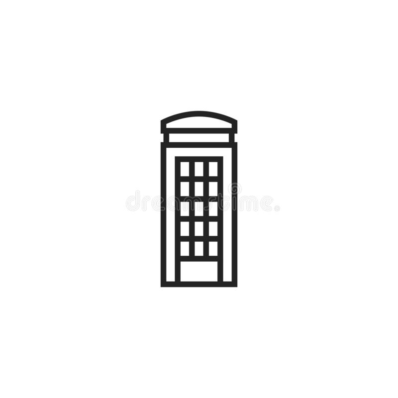 Phone Box Oultine Vector Icon, Symbol or Logo. stock illustration