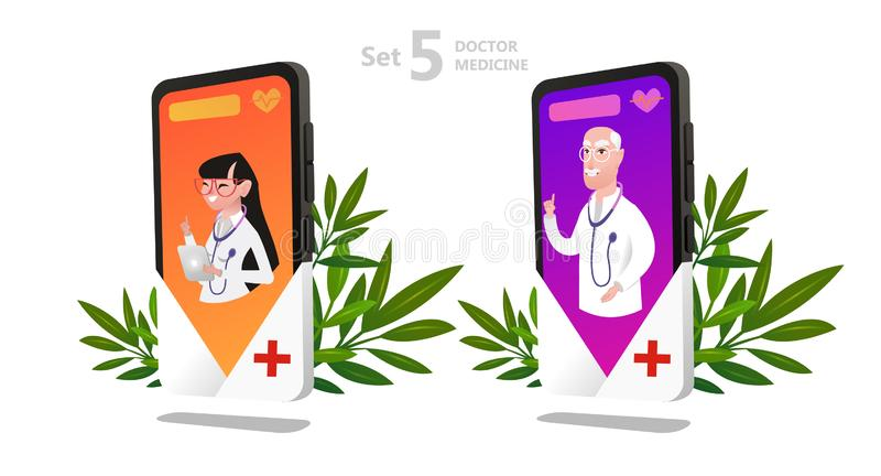Online doctor character set, patient consultation. To the doctor via smartphone, can use for poster, banner, flyer, landing page, template, mobile app, ui, web vector illustration