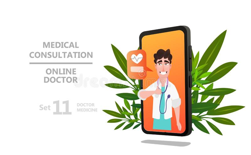 Online doctor character or patient consultation. To the doctor via smartphone, can use for poster, banner, flyer, landing page, template, mobile app, ui, web royalty free illustration
