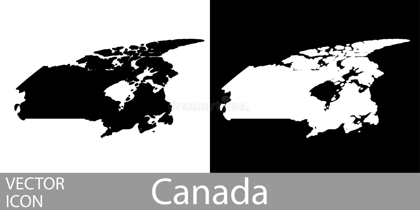 Canada detailed map. Flat black and white vector icon stock illustration