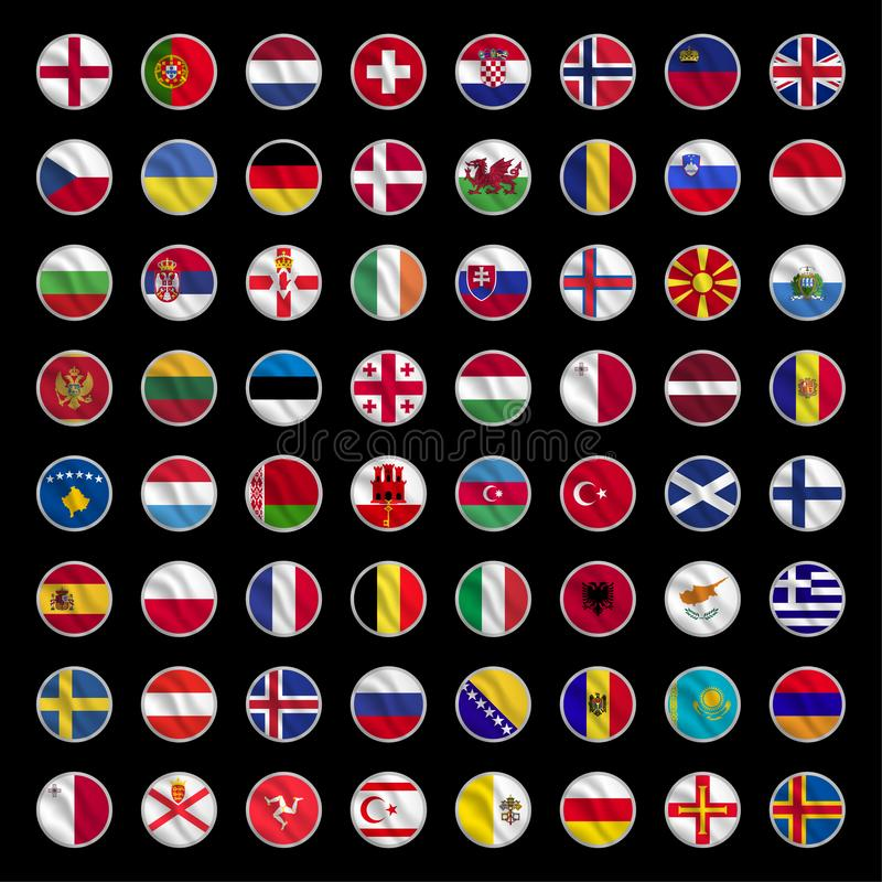 All europe flags circle shape icons royalty free stock photography
