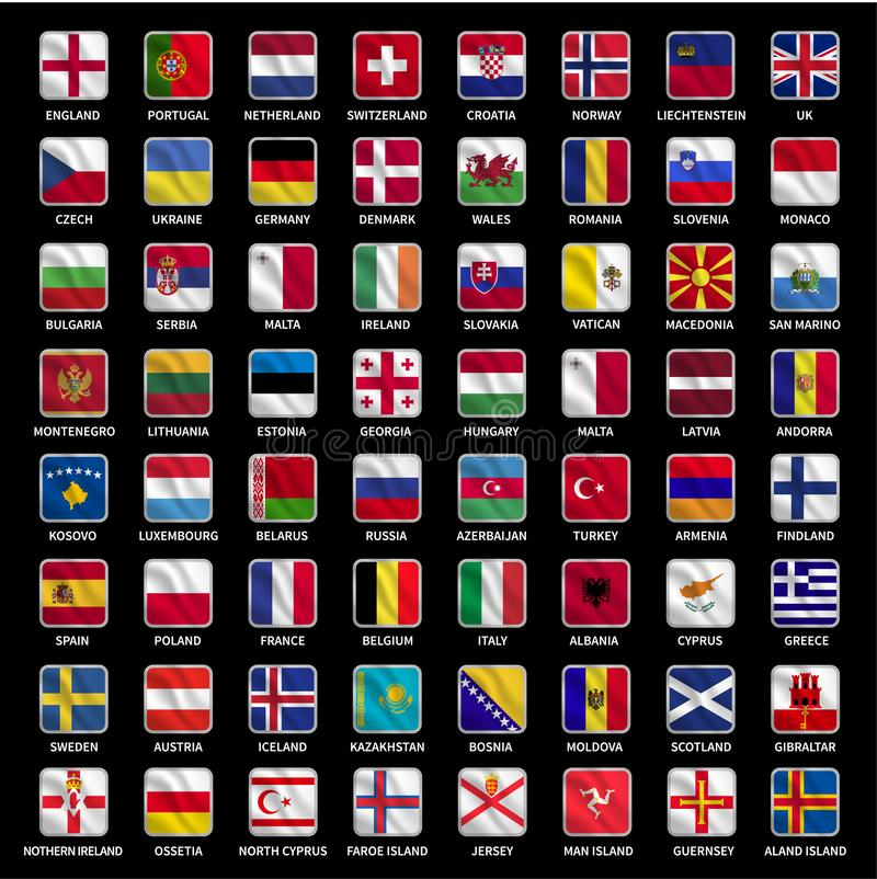 All europe flags icons collection royalty free illustration