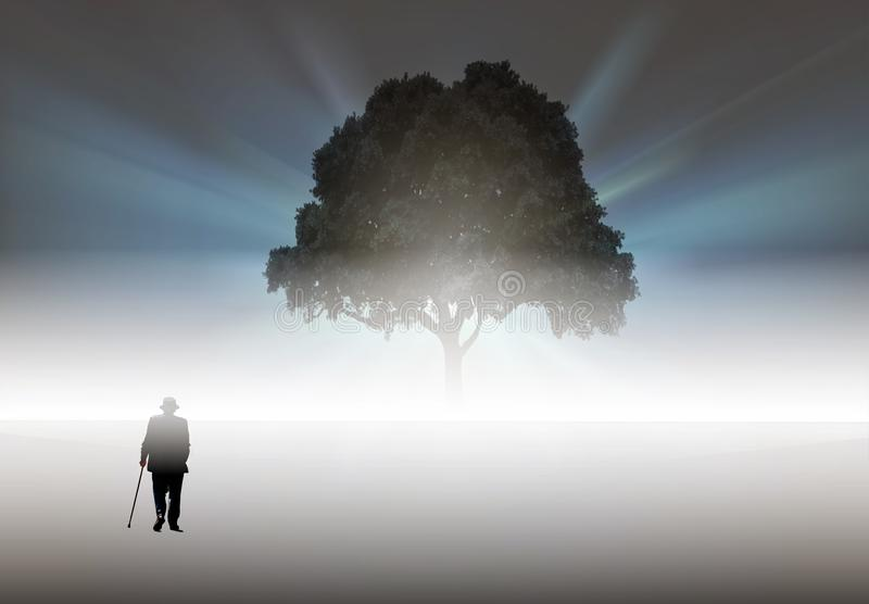 Old man walking to a big tree, loneliness, solitude concept royalty free illustration