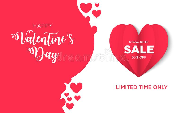 Valentines day Sale background with Heart Shaped. Vector Valentine`s for Banner, greeting cards, poster, brochure, advertising in EPS 10 stock illustration