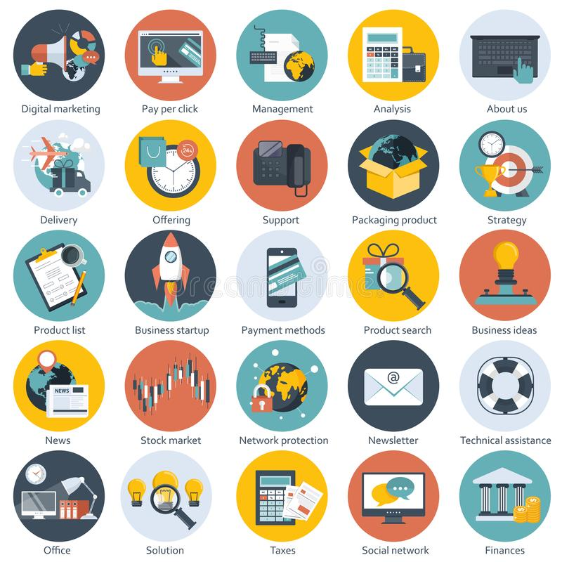 Colorful icon set for business, management, technology, finances and e-commerce. Flat objects for websites and mobile apps royalty free illustration