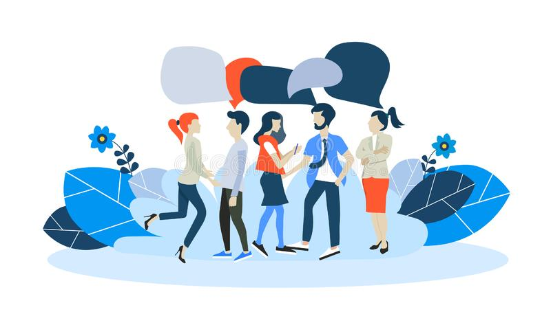 Businessmen discuss social network, news, social networks, chat, dialogue speech bubbles. Flat vector stock illustration