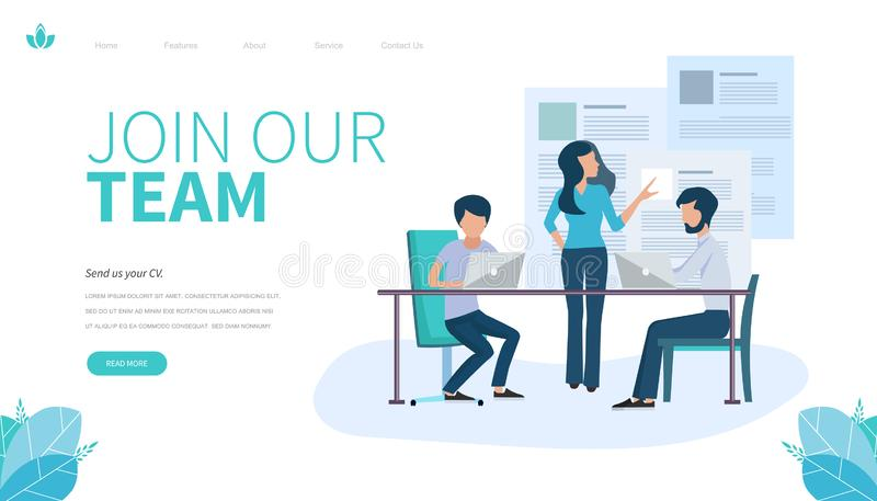 Landing page template of Join our team. Modern flat design concept of web page design for website and mobile website. royalty free illustration