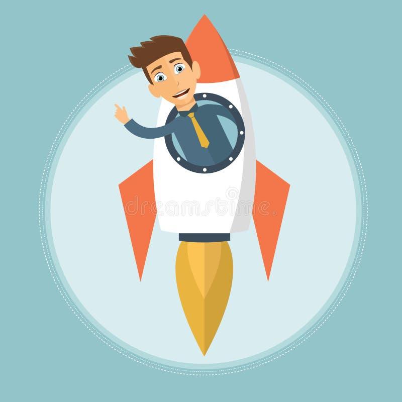 Business start up. Businessman riding rocket metaphor. Flat vector stock illustration