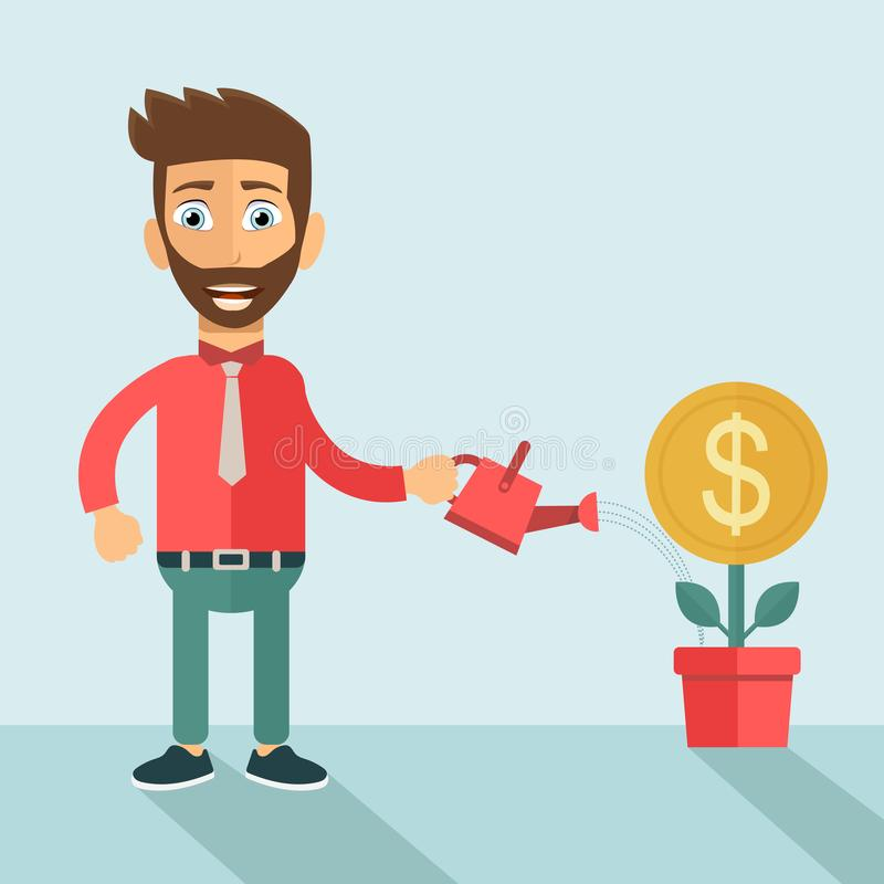 Investor Businessman. Man pouring water into pot and the money is growing. Flat vector vector illustration