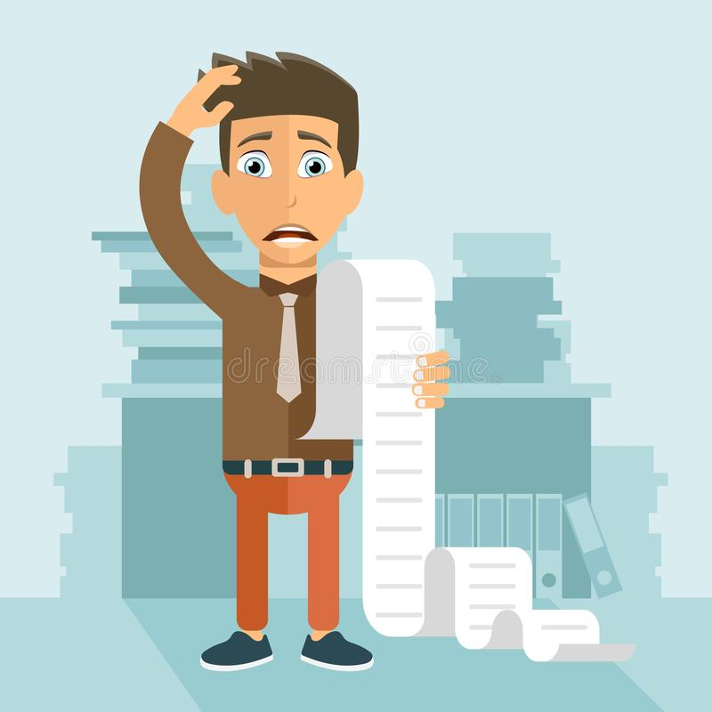 Paying bills and taxes concept. Man worried about his bills. Flat vector. Illustration stock illustration