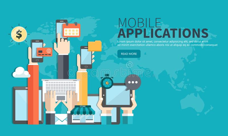 Mobile applications concept. Hands with phones. Flat vector illustration. Mobile applications concept. Hands with phones. Application development concept. Flat royalty free illustration