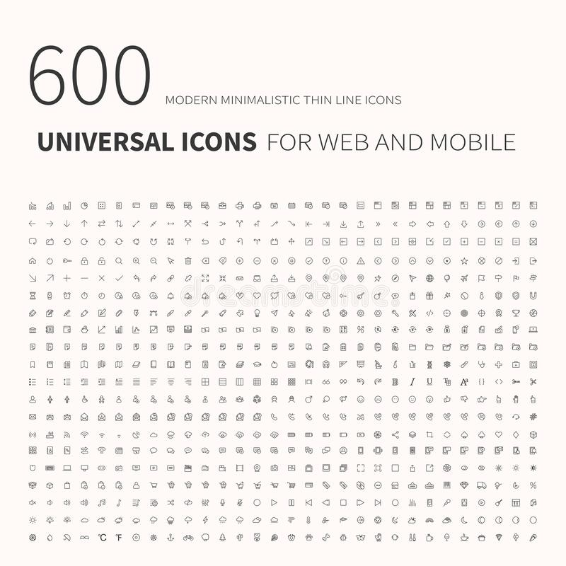 600 simple outline flat icons. Set of universal icons for website and mobile. Flat vector vector illustration