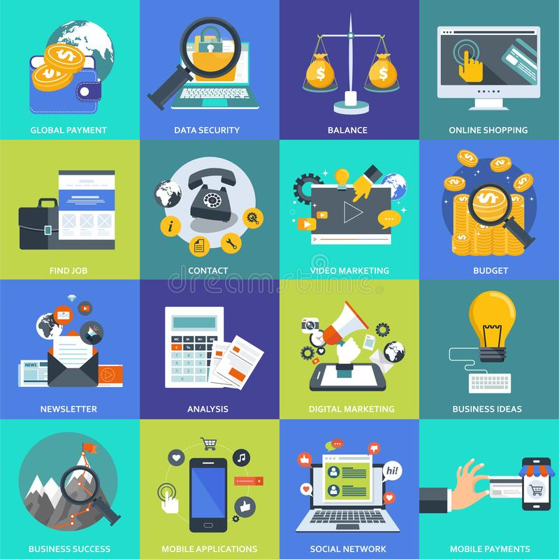 Business, management and technology icon set for websites and mobile applications. Flat vector vector illustration
